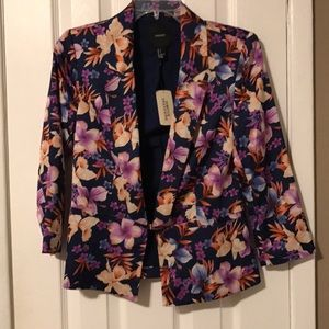 Forever 21 multi colored floral silk blazer